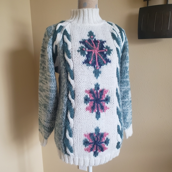 Vintage textured knit sweater M acrylic
